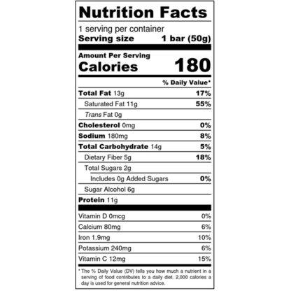 Strawberry Baobab Bliss Bar - Nutrition Label - SKU# 644216223589