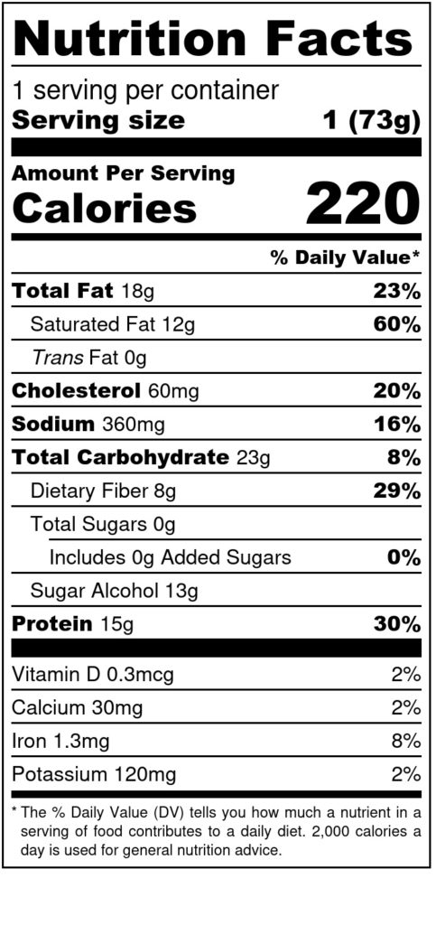 Image of THM Protein Pleasure Cookie: Chocolate Chip 2.6oz SKU# 644216212286 Nutrition Label