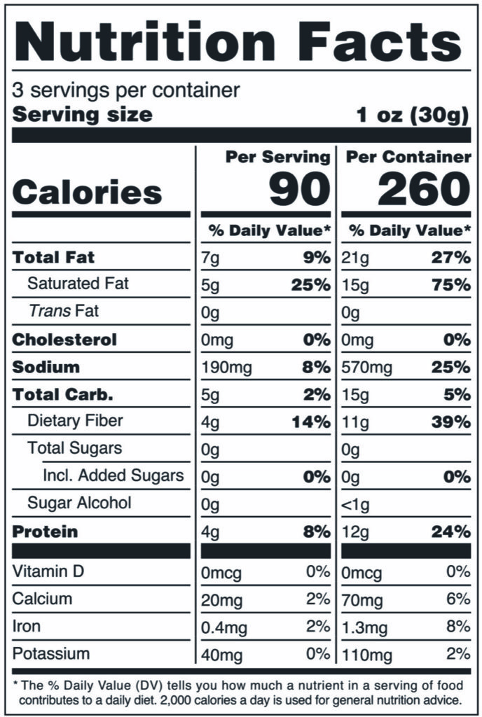 Image of THN Shameless Crackers: Classic Toppers 3.3oz SKU# SC-CLSCTOP Nutrition Label