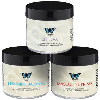 One Hempy Family Cream 3 2oz Jar Combo (Feminine Balance, Chillax and Masculine Prime) SKU number 1FB1MP1CHCRM