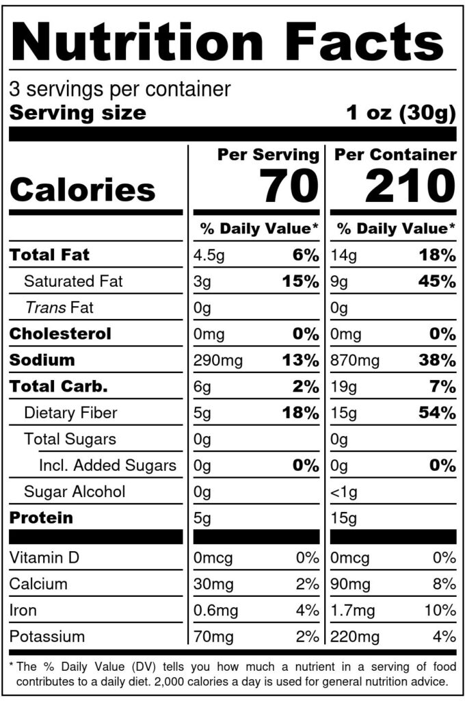 Image of Shameless Crackers: Classic Toppers 3.3oz SKU# SC-CLSCTOP Nutrition Label