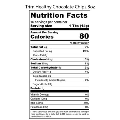 Image of Trim Healthy Chocolate Chips 8oz SKU# 752830218017 Nutrition Label