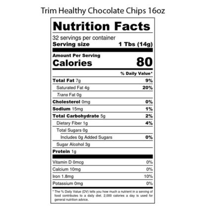 Image of Trim Healthy Chocolate Chips 16oz SKU# 752830226517 Nutrition Label