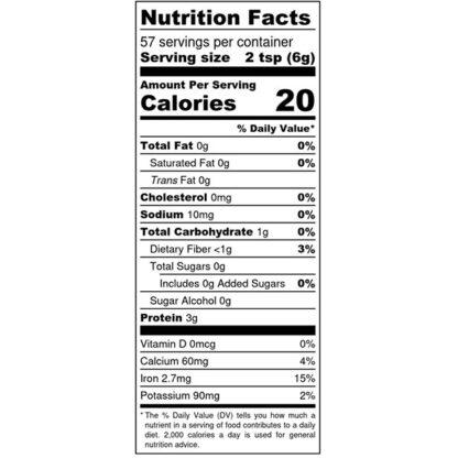 THM DYNAMIC DUO GREENS POWDER 12OZ - Nutrition Label